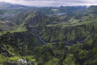 Vue sur la vallée de Þórsmörk depuis Rettarfell